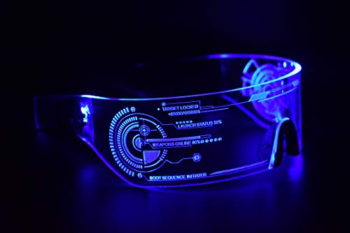 ASVP Shop Cyberpunk LED Tron Visor Glasses - Perfect for Cosplay and Festivals - Cybergoth - Cyberpunk Glasses Goggles (Blue)]()