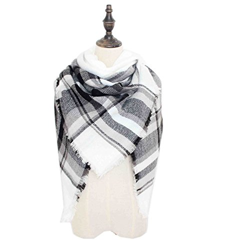 White Plaid Scarf (HITOP Women Tartan Scarf Stole Plaid Blanket Checked Scarves Wraps Shawl (Black White))