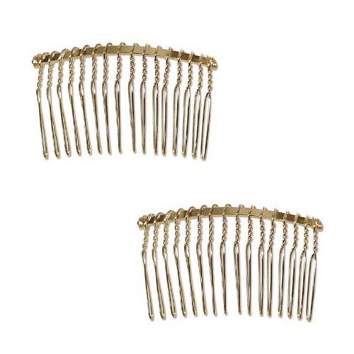 22K Gold Plated Metal Fancy Hair Combs - Fun Craft Beading Project 2 1/2 Inches (2)