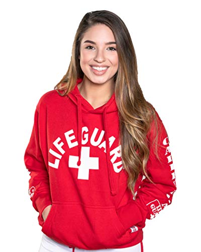 LIFEGUARD Hoodie - Cotton Women's West Coast Sweatshirt (Red, (Coast Guard Halloween Costumes Kids)