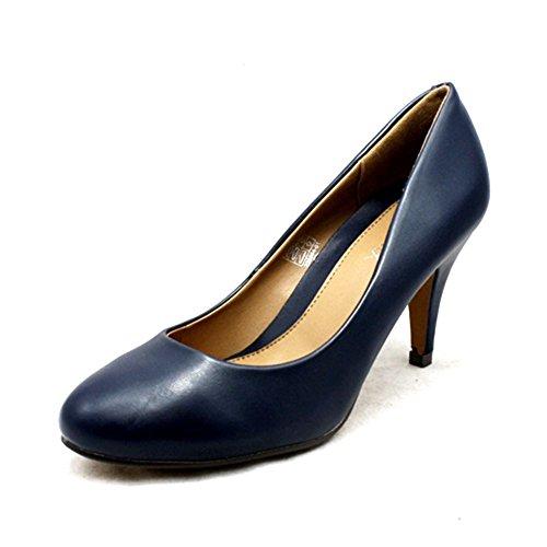 Zapatos de las señoras de la corte del talón bajo Navy blue