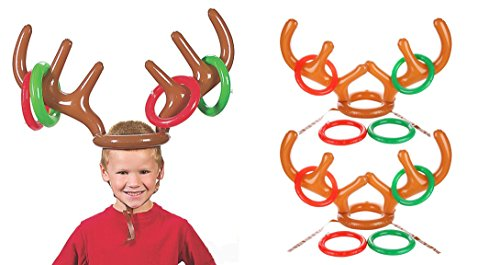 AbeTammy Inflatable Reindeer Antler Ring Toss Game for Christmas Party 2 Antlers 8 Rings