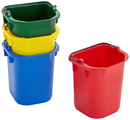 Quart Red Bucket - Rubbermaid Commercial Multi-Colored Pails, 5 Quart, Pack of 4, FG9T83010000