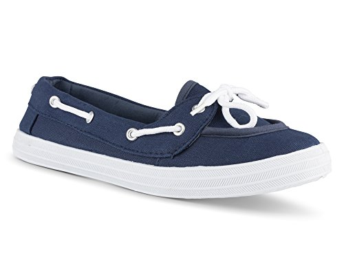 Twisted Women's Champion Casual Canvas Boat Shoe - NAVY, Size 9 by Twisted