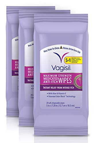Vagisil Anti-Itch Medicated Feminine Vaginal Wipes, Maximum Strength, 20 Wipes (Pack of 1, Packaging may vary)