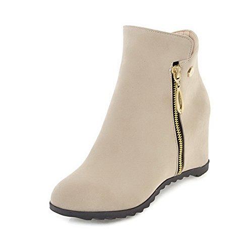 Heels Toe Frosted Solid Boots Zipper Round Women's Beige Kitten AgooLar AExg11