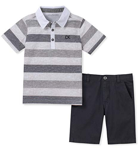 Calvin Klein Baby Boys 2 Pieces Polo Shorts Set, Charcoal 6-9 Months ()