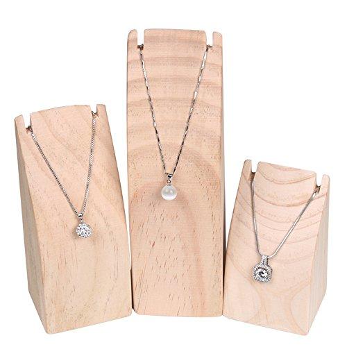 - BOCAR 3PCS Natural Wood Necklace Display Stand Organizer Holder (MT-DZ) ...
