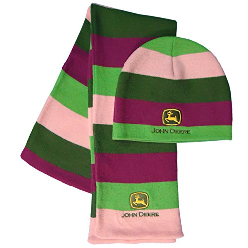 John Deere Ladies Green and Fuchsia Striped Knit Scarf and Hat Set