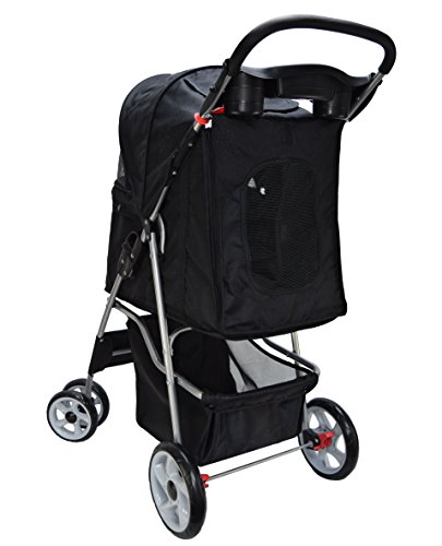 VIVO Black 4 Wheel Pet Stroller for Cat, Dog and More, Foldable Carrier Strolling Cart (STROLR-V001K)