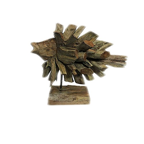 Benzara ETD-EN32090 Impressive Wooden Fish Decoration on Stand - Animal Statues