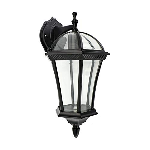 IN HOME 1-Light Outdoor Exterior Wall Down Lantern, Traditional Porch Patio Lighting Fixture L06 with One E26 Base, Water-Proof, Black Cast Aluminum Housing, Clear Glass Panels, ETL Listed