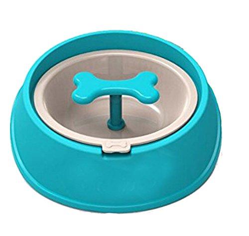 Machao Pet Fun Slow Feed Dog Food Bowl-Interactive Fun-Bone Shaped Rotating Anti- Eco-friendly Durable Non Toxic-Blue-S
