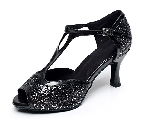 High Womens Glitter QJ6205 Style Shoes Flare Salsa Heel Minishion Dance Black Latin I6dqwxT6Rn