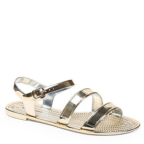 Ideal Shoes Sandalen Flache Lack Sandra Doree
