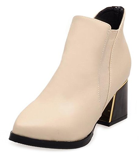 Chic Shoes Toe Ankle Women's Beige Top Boots Short Aisun Pointy Chelsea OFH7qwBZ