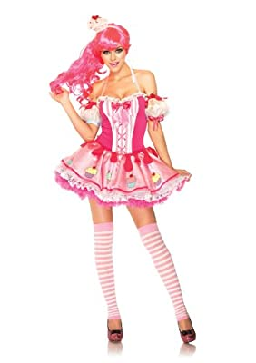 Leg Avenue Women's 3 Piece Halter Dress with Cupcake Arm Puffs And Headband