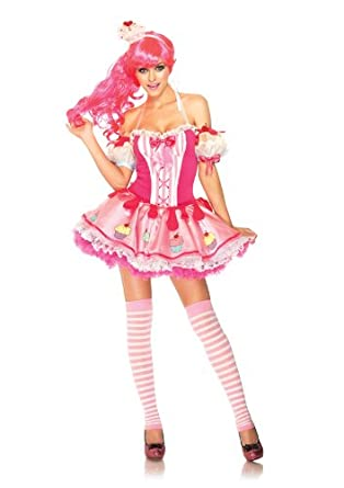amazoncom leg avenue womens 3 piece halter dress with cupcake arm puffs and headband clothing - Halloween Costume Cupcake