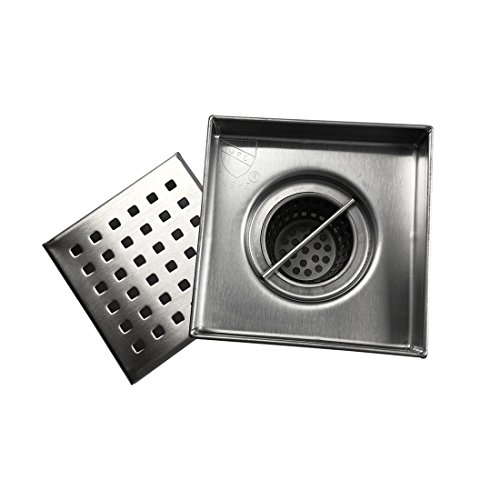 Neodrain Square Shower Drain with Removable Quadrato Pattern Grate, 4-Inch, Brushed 304 Stainless Steel, With WATERMARK&CUPC Certified