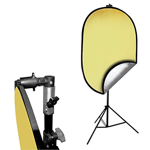 Julius Studio Photo Video Studio 24'x36' Gold/Silver Disc Reflector with Disc Holder Clip for Light Stand, JSAG467