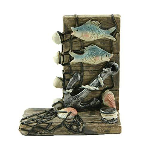 - ShopForAllYou Figurines and Statues Miniature Fairy Garden Fishing Post w/Nets, Fish & Anchor