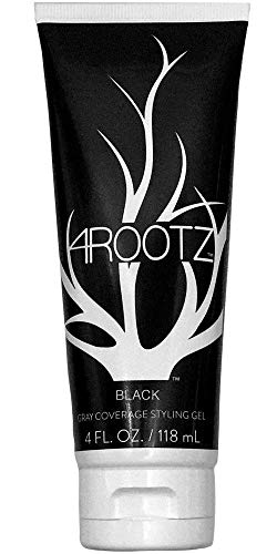 - 4RootZ Black Colored Hair Gel for Men and Women, Covers Gray Hair Roots, Hair Root Touch Up, Hair Dye and Root Cover Up -Black