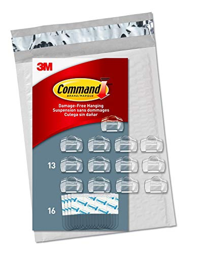 (Command Clear Cord Clips, 13 Clips, 16 Strips (CL017-13NA) - Easy to Open Packaging)