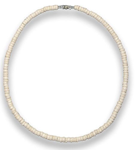 Native Treasure 16 inch Little Kids Genuine 'Good Karma' Royal White Puka Shell Necklace with Screw Lock - 5mm (3/16