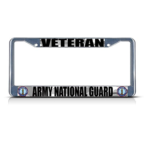 Veteran Army National Guard Metal - Border with 2 Holes - License Plate Frame Tag for Home/Man Cave Decor by PrMch