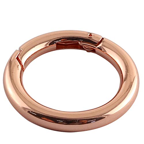 Youliang 6PCS 35mm Round Spring Snap Clip Hook DIY Accessories for Handbag Purse Shoulder Strap Key Keychain Keyring Camping Backpack Carabiner Rose Gold