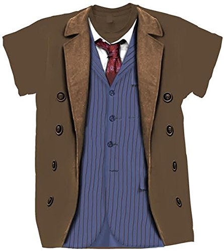 Costume Who Dr Doctor 10th (Doctor Who Classic Mens T-Shirt 10Th Doctor Costume Brown)