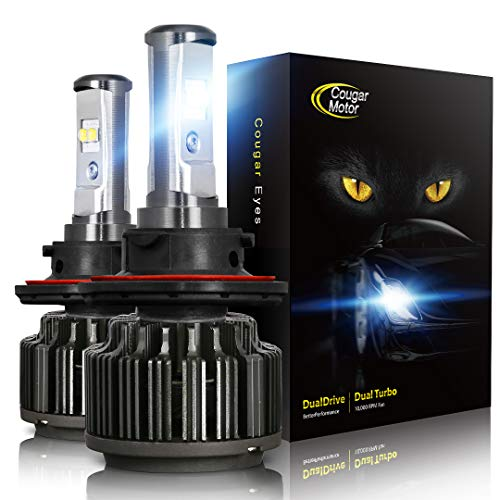 Cougar Motor 9007 LED Headlight Bulbs, High/Low All-in-One Conversion Kit, 7200 Lumen (6000K Cool White) - Adjustable Beam Pattern ()