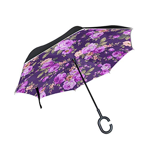 All agree Reverse Umbrella Rose Flower Purple Inverted Umbrella Reversible for Golf Car Travel Rain Outdoor Black