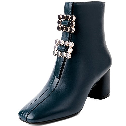 Toe Genuine Boots Square Nine Chunky Seven Leather Buckle Heel Handmade Green Rhinestones Women's Ankle wASn5F4q