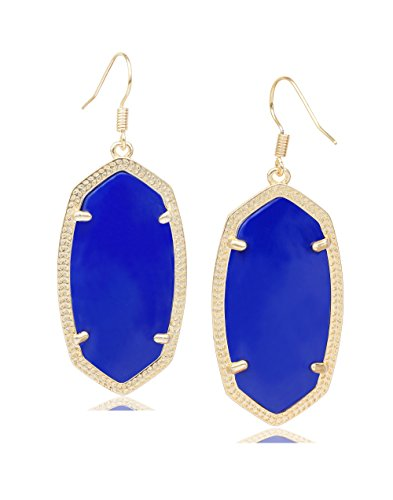 Blue Oval Drop Earrings - Fashion Metal Oval Crystal Quartz Drop Dangle Earrings for Women (Gold(blue))