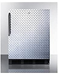 Summit FF7LBLBIDPLADA Refrigerator, Silver With Diamond Plate