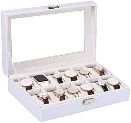 Watches Box Amzdeal 12 Grid Leather Watch Organizer Holder Glass Lid Watch Jewelry Display Storage Case for Men and Women, white