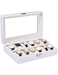 Watches Box 12 Grid Leather Watch Organizer Holder Glass Lid Watch Jewelry Display Storage Case for Men and Women, white