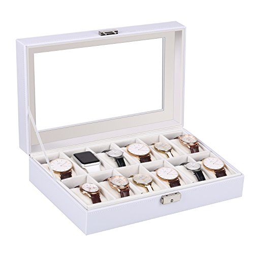 amzdeal Watches Box 12 Grid Leather Watch Organizer Holder Glass Lid Watch Jewelry Display Storage Case for Men and Women, white