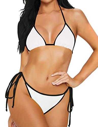 Vinyl Bikini Set - Milankerr 2Pcs Bikini Set Swimsuits for Women Straps Bathing Suits Halter Top Scrunch Butt Bottom (Halter-White, Medium)