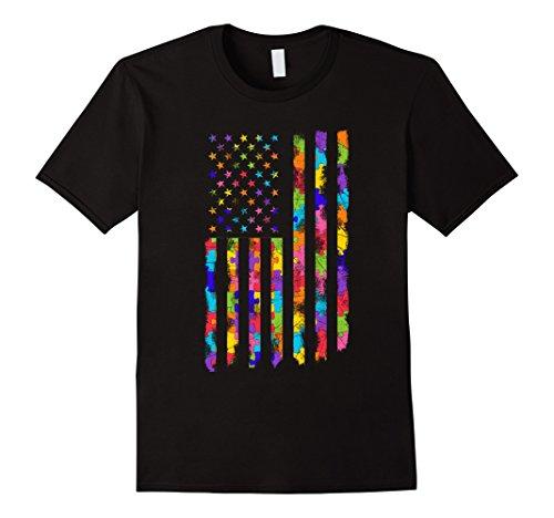 Men's Autism Awareness Puzzle Flag T-Shirt Embrace Differ...