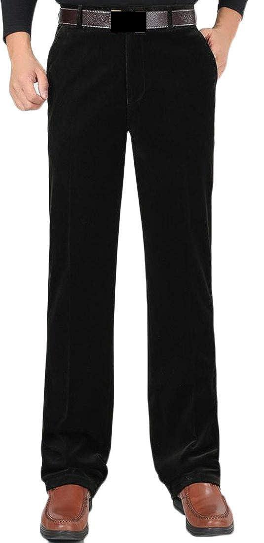 XTX Mens Stretchy Corduroy High Waist Autumn Plus Size Straight Leg Pants