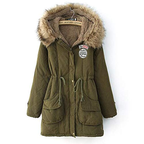 blackthings Women Winter Warm Parkas Faux Fur Lined Jacket Trench Coats with Hood Green
