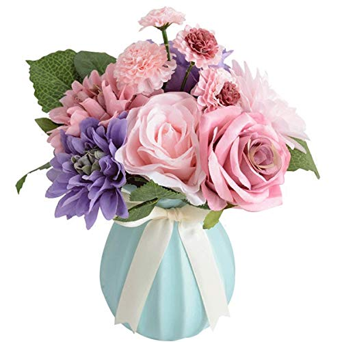 Bringsine Bridal Wedding Bouquet Flower Arrangement Home Decorative Artificial Silk- Rose, Daisy, Dahlia, Decoration, Bunch Hotel Party Garden Floral-Purple