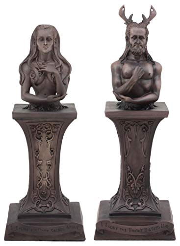 Statue Set - Ebros Neopaganism Wiccan Primary Deity Statue Featuring The Masculine Horned God Or Feminine Crescent Moon Triple Goddess Busts On Pedestal (Set of Two Triple Moon Goddess and Horned God)