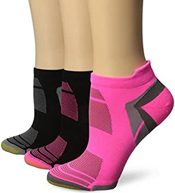 Gold Toe Women's Trufit Accelerator Tab Low Cut Athletic Sock, Black/Grey/Pink, 9-11 (Pack of 3)