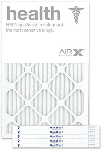 Box of 6 AIRx HEALTH 16x25x1 MERV 13 Pleated Air Filter Made in the USA