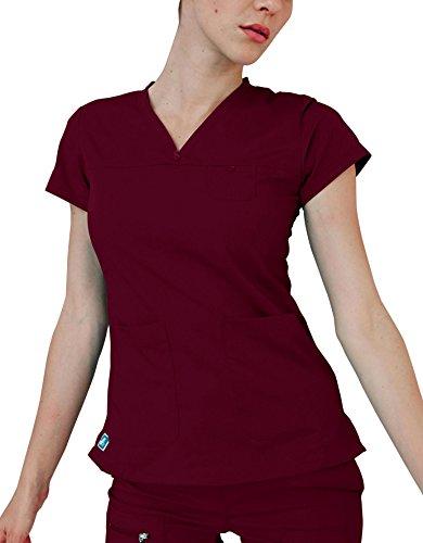 Adar Indulgence Womens Jr Fit Stitched Curved V-Scrub Top - 4210 - Wine - S