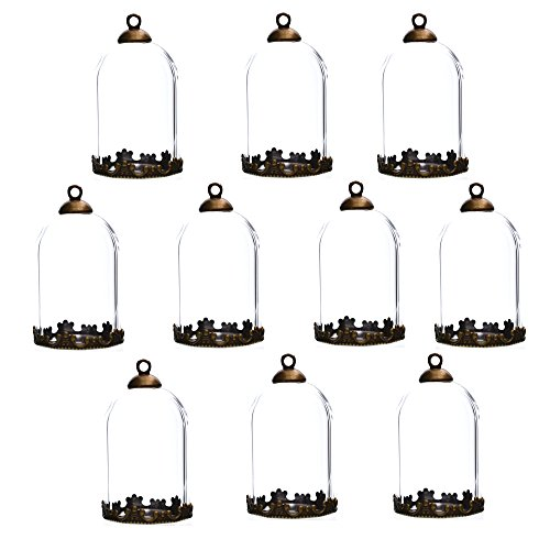 10 Pieces 30x20mm Clear Tube Glass Globe Bottle with findings Hollow Glass Dome, Glass Vial Pendant Charms (30x20mm with Bronze Crown Base)