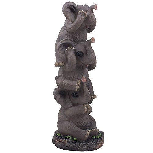 See, Hear and Speak No Evil Elephants Totem Statue for African Jungle Safari Decor or Whimsical Animal Figurines As Decorative Birthday Gifts That Bring Luck by Home-n-Gifts